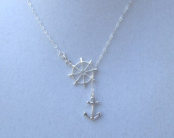 All Sterling Silver Ships Wheel and Anchor Lariat Necklace, Adjustable Necklace with Nautical Theme, Seaside, Navy Wife, Navy Girlfriend