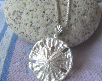Sterling Silver Sand Dollar Necklace on Sterling Overlay Box Link Chain, Beachy Sealife Necklace, Seaside, Nautical, Focal Necklace, Gift