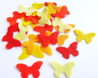 Felt Butterflies Yellow and Orange. Set of 25 pieces.