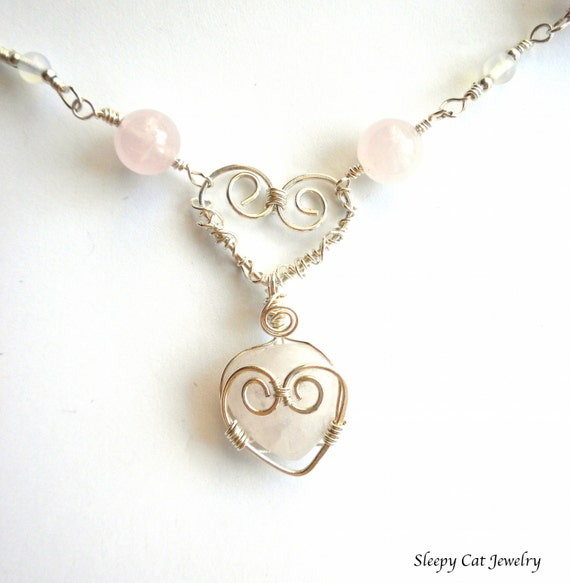 Love Necklace in Sterling Silver and Rose Quartz Wire Wrapped Hearts for Someone Special