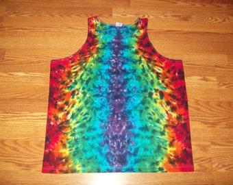 S M L XL 2X 3X Tie Dye Tank Top- Adult Plus Size Tank Top - Rainbow Crush tie dye shirt