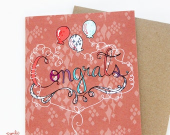 Congrats Balloons Card - hand lettered, blank card