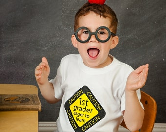 1st Grader Eager to Learn Shirt - Embroidered 1st Grade Shirt - First Grade Back To School Shirt