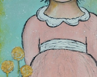 Original Painting Girl in Pink 10x20 Face Pretty Yellow Pink Flowers Sweet