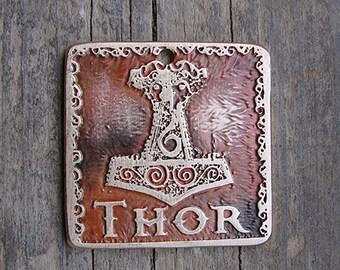 Pet ID Tag, Dog ID Tag, Mjöllnir, Thor's Hammer Pet Tag, Viking Pet Tag - 1.25 inch or larger Square Mjollnir