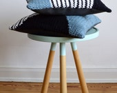 hand knitted cushion, blue / white / navy, striped pattern No.5