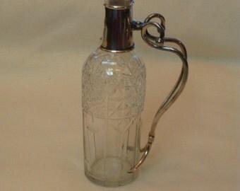 Antique Sterling Silver Decanter Bar Liquor Pitcher Fine Cut Glass or Crystal George A Henckel Co. vintage