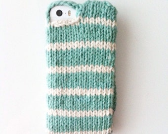 Aqua stripe knit phone sweater case for iPhone