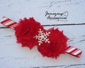 Chrismas Headband - Red Candy Cane Headband - Baby Headband - Rhinestone Snowflake Headband - Infant Christmas Headband