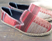 Womens Shoes Slip on Vegan Loafer In Red And Tan Ethnic Naga Tribal Textiles - Morgan