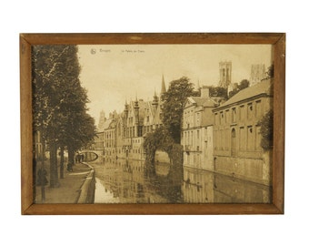 19th Century Antique Sepia Photograph of Bruges