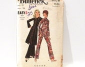 Tunic Pants Blouse Mod Top 70s Sewing Pattern FF uncut mod pantsuit loungewear boho formal Butterick 6478 Bust 34 70s Free Ship