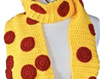 MADE TO ORDER-Pepperoni Pizza Crochet Scarf- Pizza Scarf - Women Scarf - Kawaii - Food Scarf - Unique Scarf