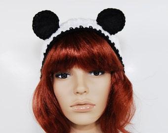 Crochet Panda Headband-Women Accessories-Animal Headband-Kawaii-Black And White-Crochet Headbands