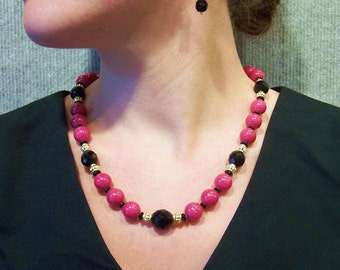 UNUSUAL CHERRY JADE  - Necklace & Earrings Set - 12mm Jade Beads, Vintage Faceted Black Glass and Gold Plated Accents and Fittings