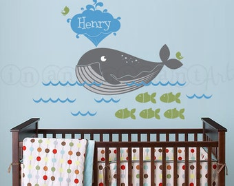 Nautical Whale Decal, Fish Decal, Under the Sea Nursery, Kids, or Childrens Room 096