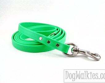 "Neon Apple Green Biothane Dog Leash - 5/8"" (16mm) - Choice of: Stainless Steel or Brass Hardware and Length 4ft, 5ft or 6ft (1.2m,1.5m,1.8m)"