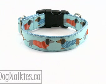 "Dachshunds Kissing on Aqua Dog Collar - 1"" (25mm) Wide - Martingale or Plastic Side Click Buckle - Light Blue - Light Turquoise - Aquamarine"