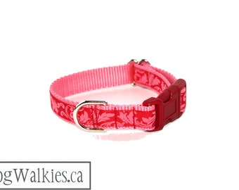 """Rococo Love Dog Collar - 3/4"""" (19mm) wide - Martingale Collar or Side Release - Choice of collar style and size // Red // Pink // Swirls"""