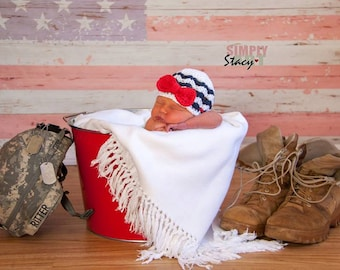4th of July hat, baby hat, baby girl hat, newborn girls hat, nautical baby hat,  patriotic hat, red white and blue hat, baby military hat
