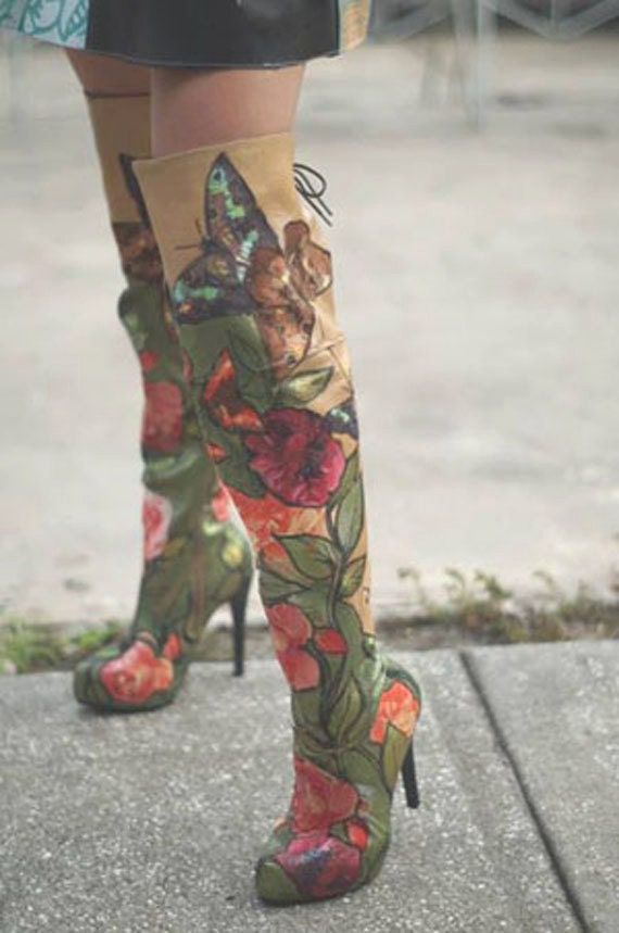 items similar to painted thigh high boots made