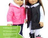 Puffer Jacket and Vest Bundle Doll Clothes Pattern for 18 inch American Girl Dolls - PDF - INSTANT DOWNLOAD