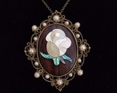Wood Golden Rose and Pearl Cameo Necklace