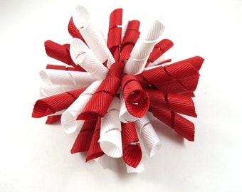 Red and White Hair Bow - Red and White Korker Hair Bow  - Korker Hair Bow - Valentines Day Hair Bow - Red Hair Bows - White Hair Bows