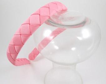 Pink Headband - Hard Headband - Ribbon Woven Headband - Soft Pink - Pink - Hard Plastic Headband - Child Toddler Teenager Adult Headband