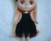 BLYTHE Dress & Beret -#6  NOIR- Hand Crocheted