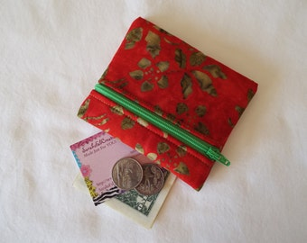 Coin Purse, Zipper Pouch, Change Purse, Wallet, batik, red, green, flowers