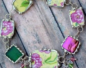 Bracelet, Broken China Jewelry, Broken China Bracelet, Yellow Pink Chintz Zinnias, Adjustable, Sterling Silver