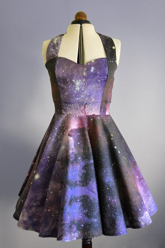 Space nebula dress womens galaxy halterneck 50 39 s style for Retro space fabric uk