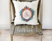 "hand-embroidered ""Crested Cage"" square pillow, applique, beautiful, unique decor"