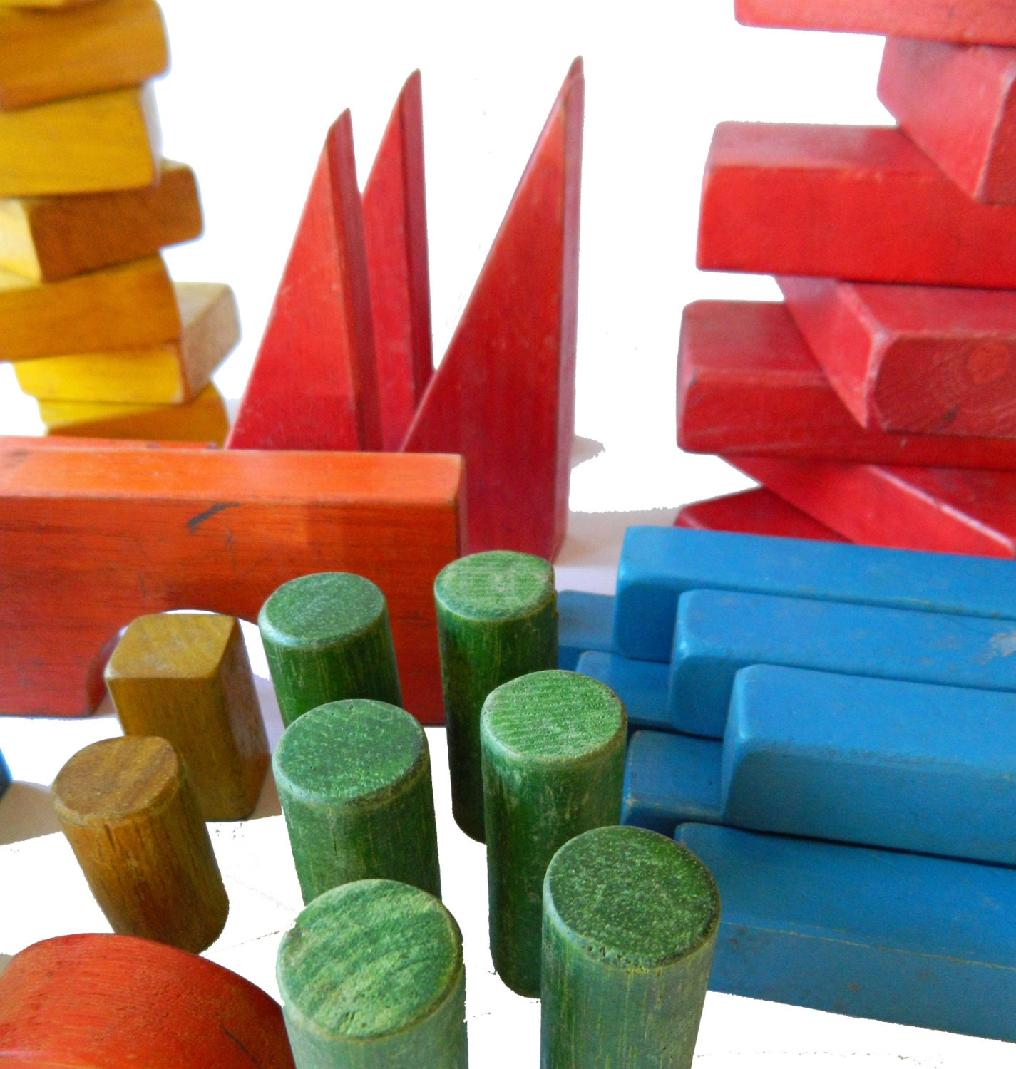 Vintage wood blocks brightly colored for castles and