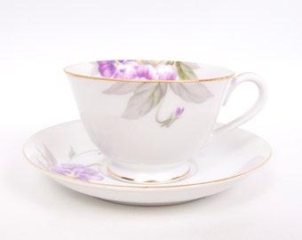 Vintage Purple Violets Teacup Saucer Tea Cup Saucer Made in Japan Gold Trim Hand Painted Porcelain