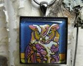 Nature Jewelry : Wildlife Pendant / Necklace, Original Art, Silver or Gun Metal, Owl