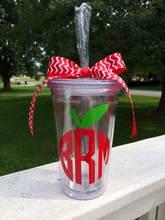 Apple Monogram Tumbler Apple Cup Teacher Cup Monogram Cup