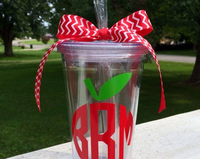 Apple Monogram Tumbler Apple Cup Teacher Cup Monogram Cup Teacher Appreciation Cup Teacher Gift Teacher Monogram Cup Personalized Cup Gift