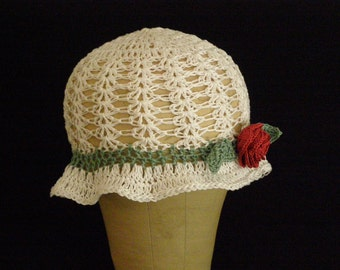 Handmade Crocheted Lacey Cotton Brimmed Summer/ Fall / Winter Hat Female Rose Leaf Adornment