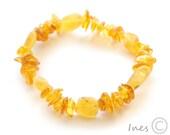 Honey Baltic Amber Bracelet, polished mixed with unpolished beads