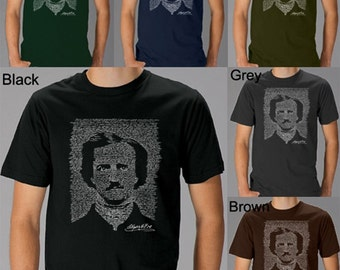 Men's T-shirt - Edgar Allen Poe - The Raven - Created using the full text to The Raven