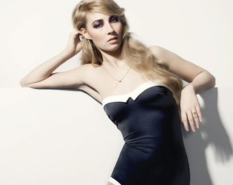 black forties style swimsuit TEODORA
