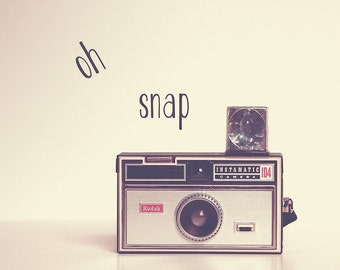 Oh Snap Retro Camera Print | Kodak Instamatic Photograph | Vintage Camera Home Decor | Square Format | Oh Snap Quote