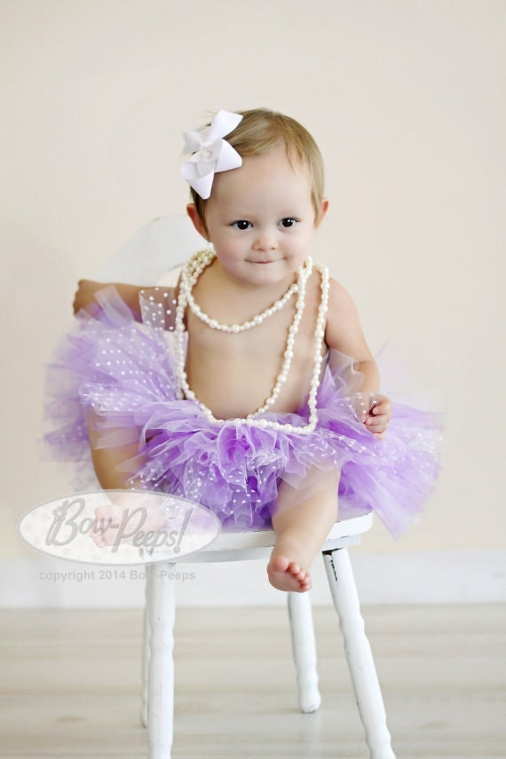 Purple and Lavender Polka dot traditional baby tutu