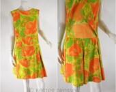 Vtg 1960s Scooter Dress Orange Floral Shorts Playsuit - sm, med