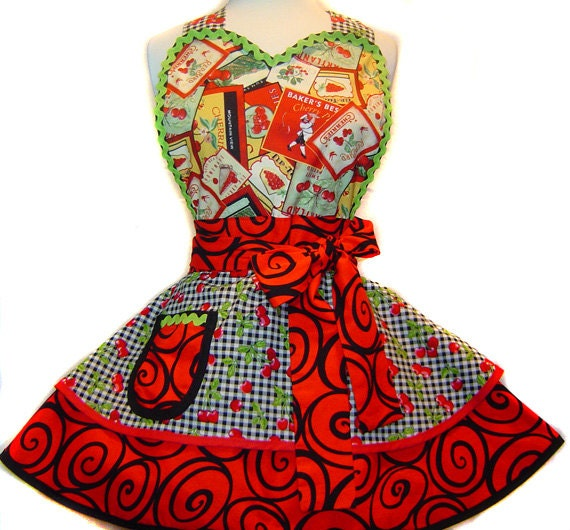 """Traverse City """"Cherry Pie"""" Sexy Diner Pinup Apron--Ready To Ship"""