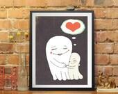 whimsical art print , sweet ghosts - kids print -print for kids,children wall art.baby nursery wall art,kids room print, nursery room,poster
