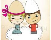 giclee art print, folk art, wedding gift, art print for lovers, valentines day gift,whimsical giclee art print, cute lovers