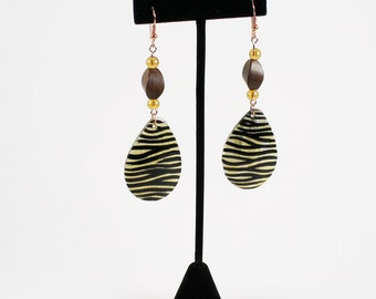 Zebra Stripe Tribal Teardrop Earrings, Zebra Earring, Tribal Earrings, Black and White Earrings